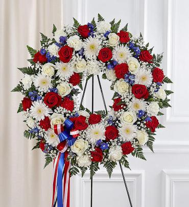 Serene Blessings Standing Wreath- Red, White & Blue