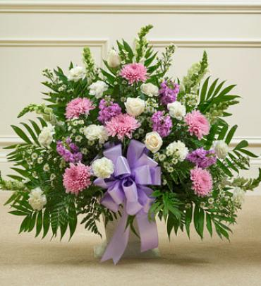 Tribute Lavender & White Floor Basket Arrangement