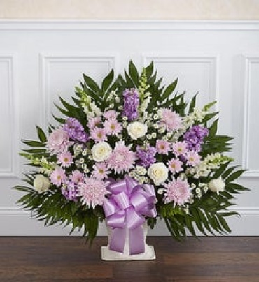 Heartfelt Tribute Floor Basket- Lavender & White