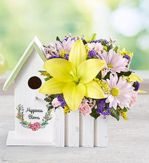 Happiness Blooms Birdhouse Yellow