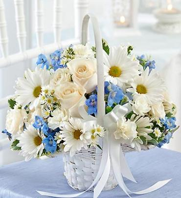Blue and White Flower Girl Arrangement