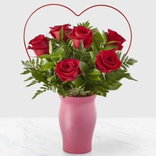 Cupid\'s Heart Red Rose Bouquet