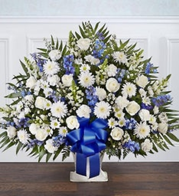 Heartfelt Tribute Blue & White Floor Basket Arrangement