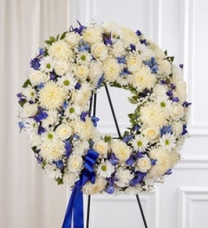 Serene Blessings Standing Wreath- Blue and White