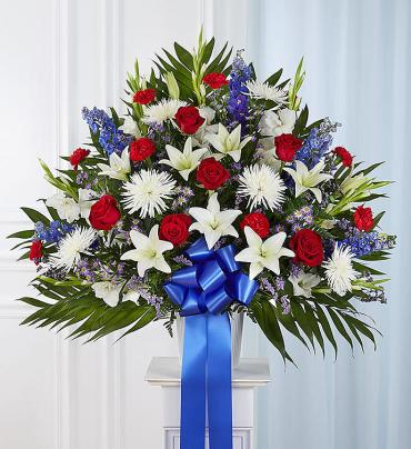 Heartfelt Sympathies Standing Basket- Red, White & Bl