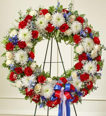 Serene Blessings Red White Blue Standing Wreath