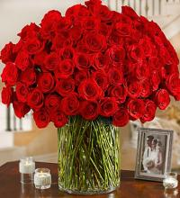 100 Long Stem Red Roses in a Vase